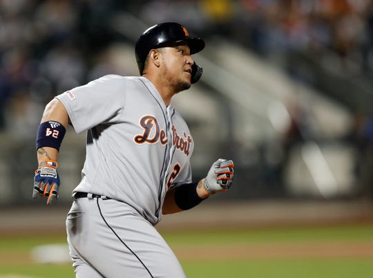 Miguel Cabrera runs out his fifth-inning solo home run.