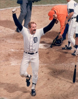Kirk Gibson hit two home runs against the Padres in the fifth game of the 1984 World Series.