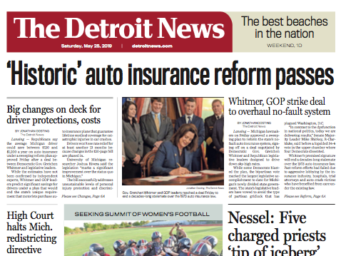 The front page of The Detroit News, Saturday, May 25, 2019.