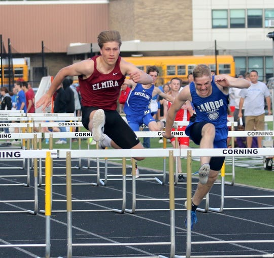 Cole Marks of Elmira competes in the 110 hurdles at the Corning Fast Times Invitational on May 10, 2019.
