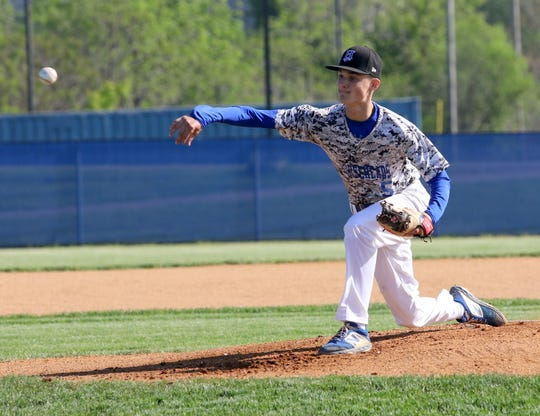 Trey Princiotto pitches for Horseheads against Corning in the Section 4 Class AA baseball semifinals May 24, 2019 at Horseheads High School.
