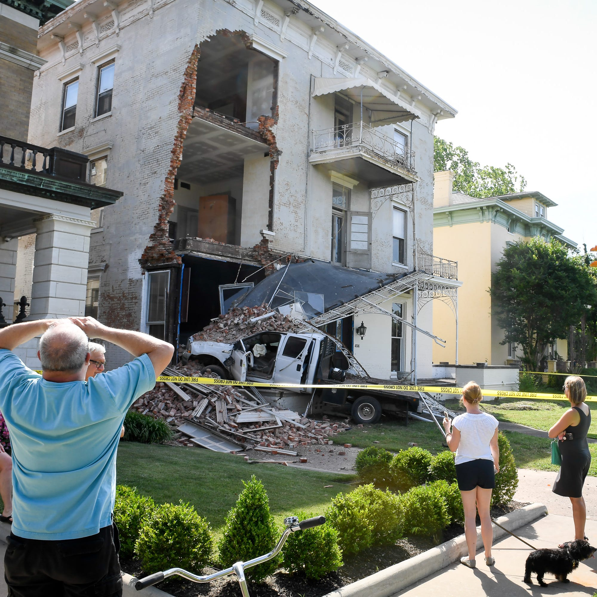Historic Downtown Evansville home damaged after truck drives into it