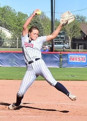Liberty's Julia DiMartino fires a pitch toward the plate in a National Invitational Softball Championship game  against Texas-Arlington on Friday, May 24, 2019, at Triple Crown Sports' Colorado Field in Fort Collins.