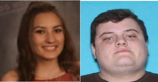 Makenna Ann Thompson, left, has been missing since Sunday and is believed to be in the company of Garret Poteet, right.