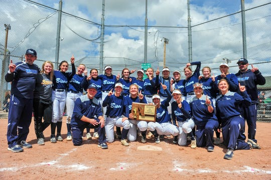 The Great Falls High Bison celebrate their state championship victory on Saturday in Butte.  They defeated Billings Senior 7-0 in the championship clinching game.