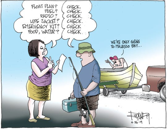 Sunday cartoon on boating safety.
