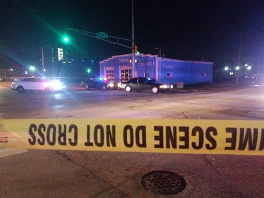 Three people were shot at about 1 a.m. in the 300 block of North Senate Avenue in Downtown Indianapolis on Saturday, May 25, 2019.