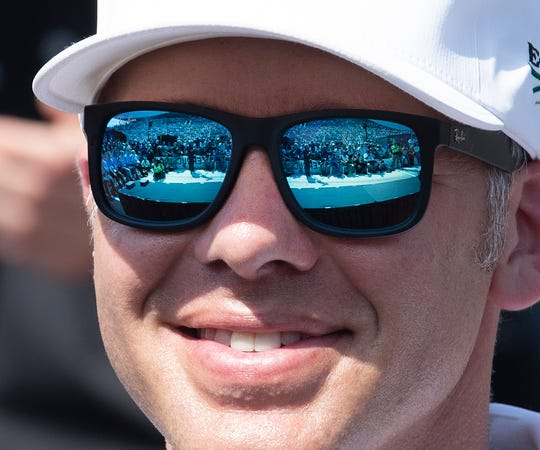 Ed Carpenter (20) of Ed Carpenter Racing during the Indy 500 Drivers Meeting at the Indianapolis Motor Speedway on Saturday, May 25, 2019.