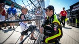 Racing fan Asher Farris, 6, interviews drivers, Saturday, May 18, 2019 at Indianapolis Motor Speedway.