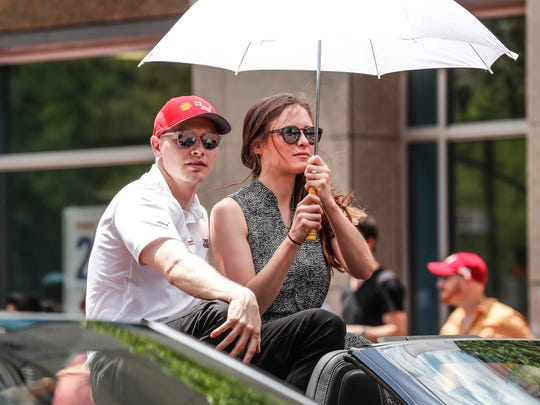 IndyCar driver Josef Newgarden rides in the annual IPL 500 Festival Parade in Indianapolis, on Saturday, May 25, 2019.