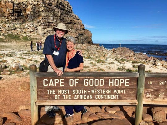 Barry and Leslie Henderson at the Cape of Good Hope in South Africa, where they traveled after retirement.