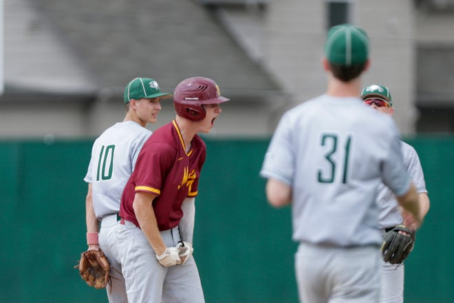 McCutcheon right fielder Connor Ayers (7) celebrates on second during the third inning of the second round of the IHSAA 4a Baseball Sectional, Saturday, May 25, 2019, at Loeb Stadium in Lafayette.