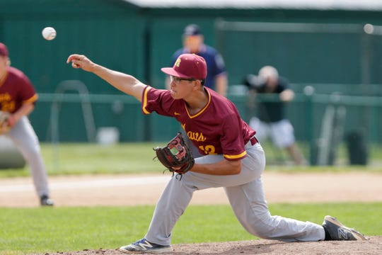 McCutcheon pitcher Ruben Morales (12) throws during the second inning of the second round of the IHSAA 4a Baseball Sectional, Saturday, May 25, 2019, at Loeb Stadium in Lafayette.