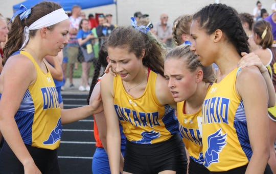 The Ontario quartet of senior Anna Gregg, sophomore Ariah Reuer, freshman Ellie Maurer junior anchor Grace Maurer will have a busy weekend at the state meet in Columbus.