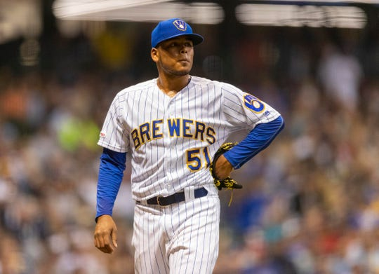 Brewers pitcher Freddy Peraltais disappointed after appearing in the sixth inning.