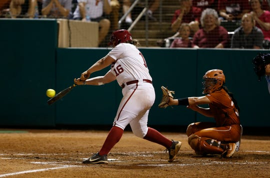 Alabama junior Bailey Hemphill gets under a pitch during Thursday's 3-0 win over No. 9 Texas in the first game of a best-of-three Tuscaloosa Super Regional on May 23, 2019 from Rhoads Stadium in Tuscaloosa. (Photo by Noah Sutton/Alabama athletics)