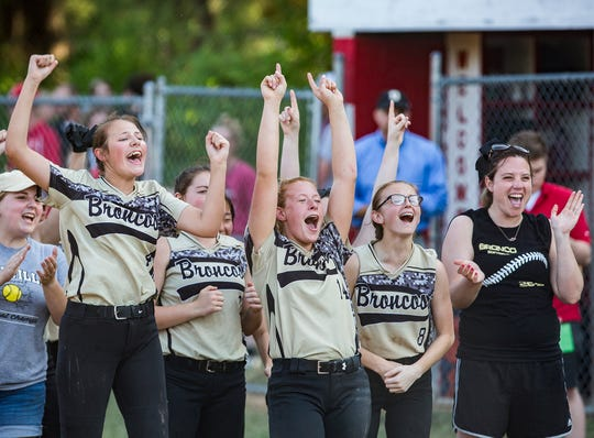Daleville celebrates their sectional championship win against Wes-Del during their game at Liberty Christian High School Friday, May 24, 2019.