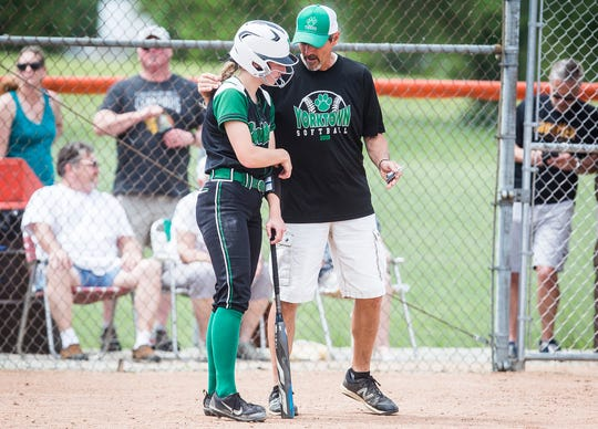 FILE -- Yorktown softball head coach Jeff Berger will coach in his first state championship game Saturday. The Tigers are one win away from the first softball state title in school history.