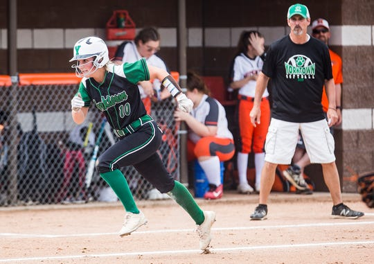 FILE -- Lexie Robertson and Yorktown picked up a semi-state championship with a win against Benton Central. The Tigers are now a win away from a state title.