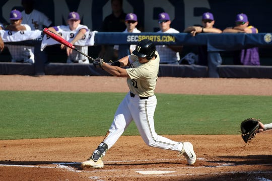 Vanderbilt junior J.J. Bleday hits his school-record 26th home run of the season, which leads the nation, against LSU in the SEC semifinal Saturday in Hoover, Ala.