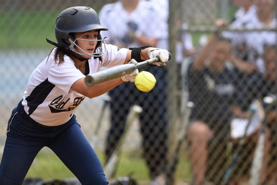 Northern Valley Old Tappan plays Ramsey at Mahwah for the 2019 Bergen County softball tournament final on Saturday May 25, 2019. OT#8 Calista Zahos hits the ball.