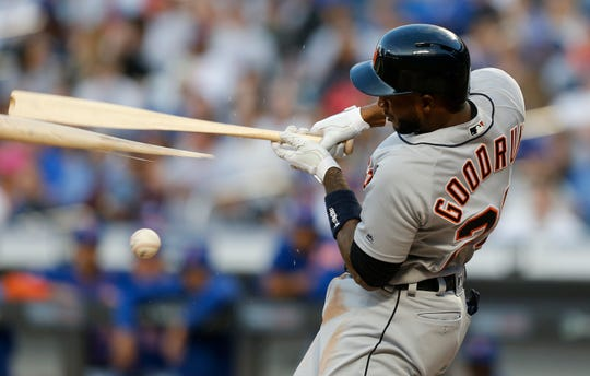 Niko Goodrum of the Detroit Tigers breaks his bat on a foul ball during the second inning against the New York Mets at Citi Field on May 24, 2019 in New York City.