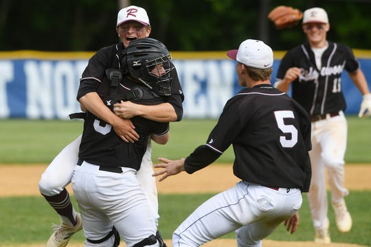Ridgewood vs. St. Joseph in the Bergen County baseball tournament championship game on Saturday, May 25, 2019. RW pitcher #10 Matt Crawford and #8 catcher Brian Skettini celebrate defeating St. Joseph.
