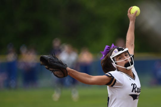 Northern Valley Old Tappan plays Ramsey at Mahwah for the 2019 Bergen County softball tournament final on Saturday May 25, 2019. R#14 Victoria Sebastian pitches.