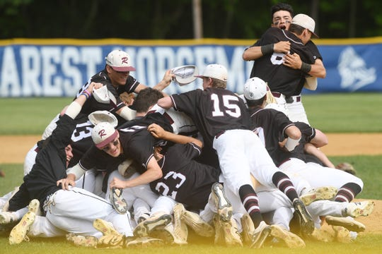 Ridgewood vs. St. Joseph in the Bergen County baseball tournament championship game on Saturday, May 25, 2019. Ridgewood celebrates defeating St. Joseph.