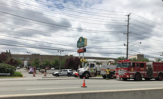 Route 3 east where downed wires were causing traffic delays in Clifton on Saturday, May 25, 2019.