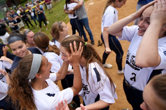 Northern Valley Old Tappan plays Ramsey at Mahwah for the 2019 Bergen County softball tournament final on Saturday May 25, 2019. NVOT celebrates their victory on the field.