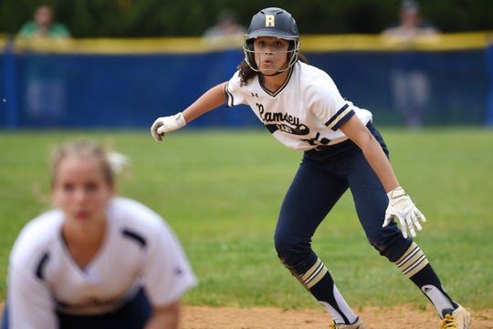 Northern Valley Old Tappan plays Ramsey at Mahwah for the 2019 Bergen County softball tournament final on Saturday May 25, 2019. R#25 Olivia Jarvis makes her way to second base.