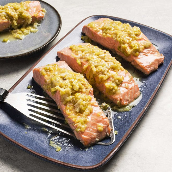 To switch up your menu, try this recipe for salmon en cocotte with leeks and white wine.
