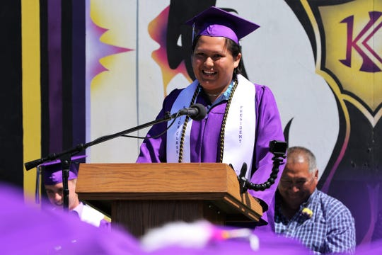 Kirtland Central High School Senior Class President Layland Joe shares some of his classes' accomplishments during the May 25 commencement ceremony at Bill Slade Stadium.