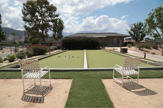 Bocci courts are located next to the tennis and pickleball courts at The Springs Club, Rancho Mirage, Calif., May 25, 2019.