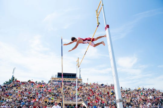 Annville-Cleona's Neil Waldhausen competes in the 2A pole vault during the PIAA track and field championships at Shippensburg University on Saturday, May 25, 2019. Waldhausen finished sixth with a vault of 14 feet.
