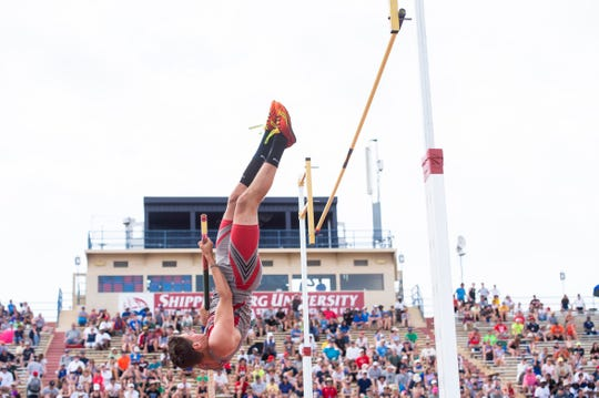 Bermudian Springs' Kolt Byers competes in the the 2A pole vault during the PIAA track and field championships at Shippensburg University on Saturday, May 25, 2019.
