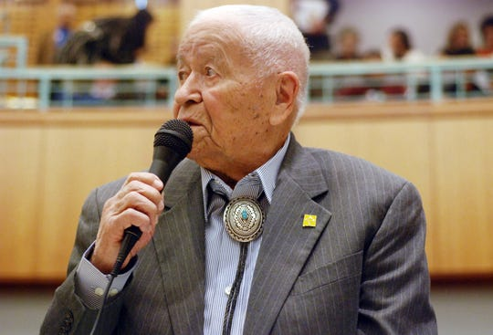 "In this Feb. 2, 2018, file photo, Democratic New Mexico state Sen. John Pinto talks about his career as a lawmaker on American Indian Day in the Legislature in Santa Fe, N.M. His singing of the ""Potato Song"" was an annual Senate ritual."
