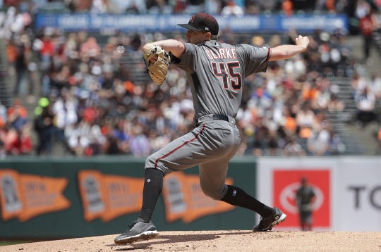 Arizona Diamondbacks pitcher Taylor Clarke throws against the San Francisco Giants during the first inning of a baseball game in San Francisco, Saturday, May 25, 2019.