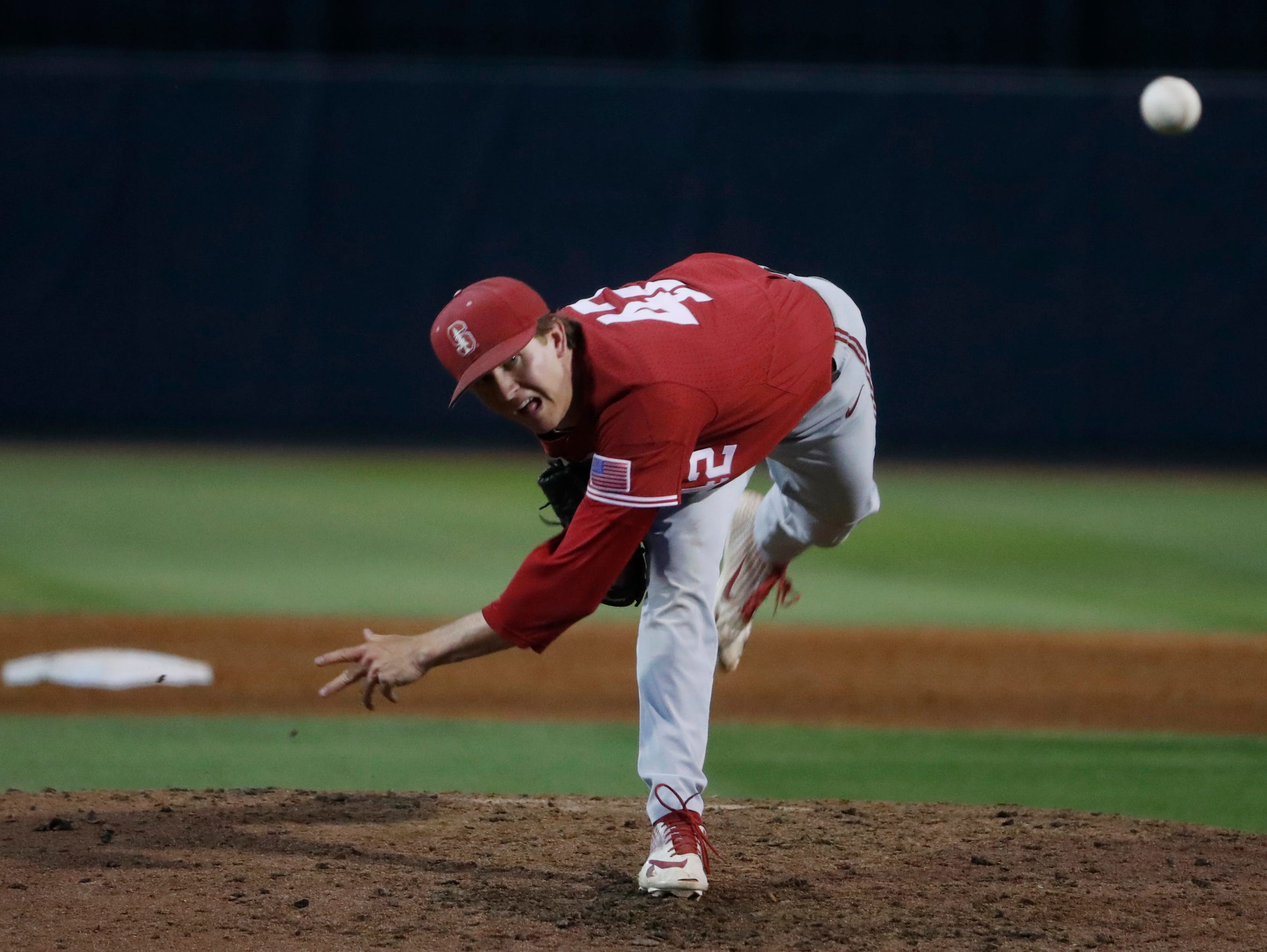 Stanford's Austin Weiermiller (42) pitches in relief during the sixth inning against ASU at Phoenix Municipal Stadium in Phoenix, Ariz. on May 24, 2019.