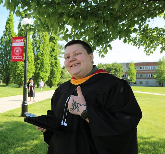 Kay Greer poses for a photo ahead of her college graduation ceremony at Marist College in the Town of Poughkeepsie on Saturday, May 25, 2019.