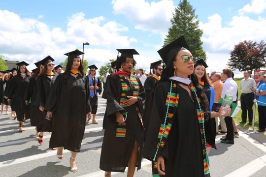Marist College 2019 graduates make their way toward the stage on Saturday, May 25, 2019 in the Town of Poughkeepsie. The college celebrated the graduation of 1,719 degrees to the class of 2019.