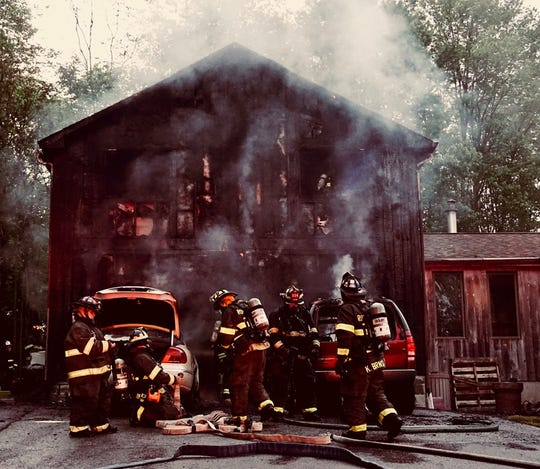 Multiple fire agencies responded to a Salt Point house fire on Ring Road Friday, May 24, 2019.