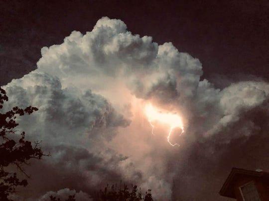 Lightning strikes over southern Shasta County amid May 24, 2019 tornado warning.