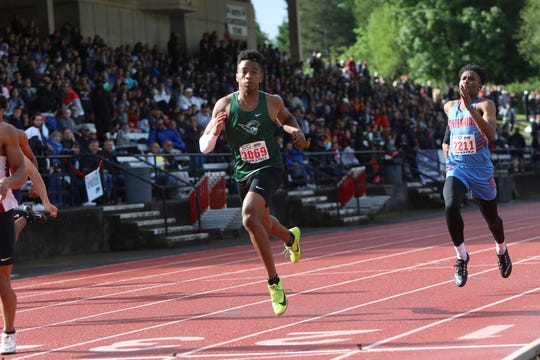 West Salem's Jamal McMurrin competes in a preliminary of the 6A boys 200-meter dash during the OSAA 5A/6A State Track and Field Meet at Mt. Hood Community College on Friday, May 24.
