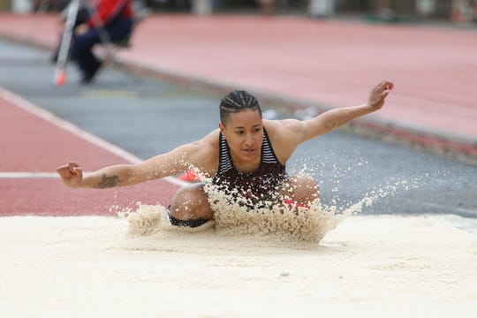 North Salem's Rebekah Miller competes in the 5A girls long jump during the OSAA 5A/6A State Track and Field Meet at Mt. Hood Community College on Friday, May 24.