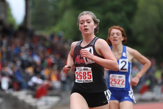 North Salem's Abigail Swain competes in the 5A girls 3000-meter run during the OSAA 5A/6A State Track and Field Meet at Mt. Hood Community College on May 24. Swain has the third-best time in the state so far this fall among 5A girls cross country runners.