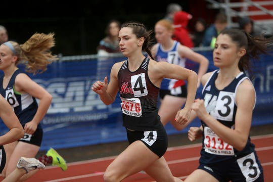 North Salem's Hailey Lewetag competes in a preliminary of the 5A girls 800-meter run during the OSAA 5A/6A State Track and Field Meet at Mt. Hood Community College on Friday, May 24.