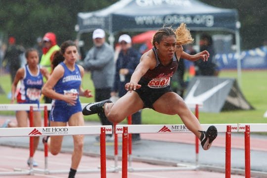North Salem's Maliyah Thompson competes in a preliminary of the 5A girls 100-meter hurdles during the OSAA 5A/6A State Track and Field Meet at Mt. Hood Community College on Friday, May 24.
