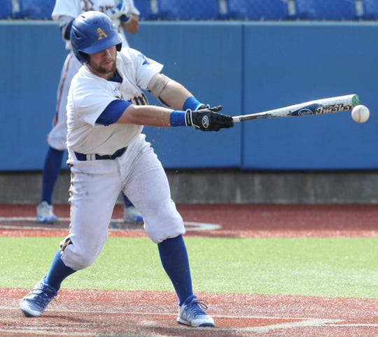 Angelo State's Jordan Williams had one of the Rams' five hits against Colorado Mesa in Friday's 1-0 loss in 11 innings in Game 1 of the South Central Super Regional.